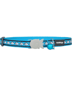 Red Dingo Cat Reflective Collar - Fish Turquoise