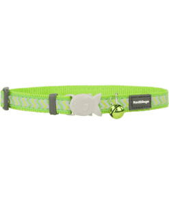 Red Dingo Cat Reflective Ziggy Collar - Lime Green