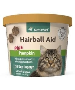 Naturvet Hairball Aid Supplement Plus Pumpkins for Cats 60ct